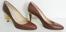 JIMMY CHOO Mid Brown Nappa Leather Court Shoe with Gold Heel - Size UK 6½ (39½)