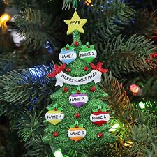 Green Christmas Tree Family of 6 Personalized Christmas Tree Ornament Rudoph