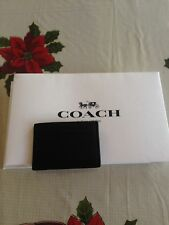 NWT Coach Black Calf Leather Slim Money Clip Credit Card Wallet Case F 75459