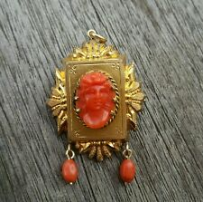 Antique Victorian coral cameo pendant pin gold filled