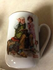 "1982 NORMAN ROCKWELL MUSEUM COFFEE MUG ""THE COBBLER""  Gold Rimmed"
