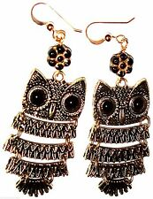 Black Gold Wise OWL Wiggly EARRINGS Large Long Tall USA Dangle Drop Black Floral