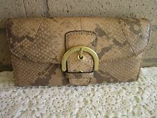 Coach Soho Brown Tan Python Embossed Leather Wallet Gold Buckle A+
