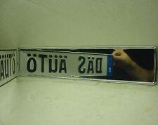 mirror chrome funn VW european German car license plate tag audi bmw mercedes