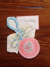 Unused Antique Greeting Card New Baby Girl Pink Roses