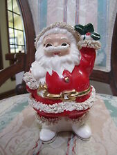 "Vintage Napco 7.5"" Christmas Spaghetti Santa Clause Bank Made in Japan Ceramic"