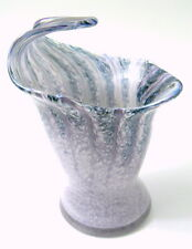 USA Hand Blown Glass Wave Vase Purple Blue White Top Swoops UP and Over Oregon