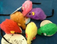 Zanies Plush Mice Cat Toy. Come in 6 Bright, Beautiful Colors.  Lot of 12.