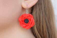 Polymer Clay Earrings Poppies Red Women Accessories