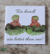 "LEANIN TREE ""Two Heads Are Better Than One""~#26522 Fridge Magnet~Anne Geddes~"