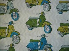 Cotton Material - Vespa (?) Scooters / Motor Cycles  -  50 x 50 cm - Fat Quarter