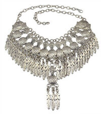 New Gypsy Ethnic Necklace Vintage Silver Peanut Metal Leaves Statement Necklace