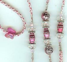 CUSTOM MADE BEADED DOG SHOW LEAD LEASH-SLIP-toy/pink irresdescent