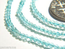 Natural Ocean Blue Apatite Gemstones Smooth Round Beads - Jewelry Supplies 7""
