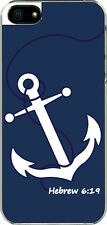 iPhone 5 Navy Blue Faith Anchor with Hebrew 6:19 Sticker on Hard Case Cover