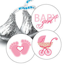 216 Baby Girl Shower Hershey Kiss Stickers Party Favors Decoration Pink Carriage