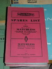 MATCHLESS SPARES LIST 1951 SUPER CLUBMAN 500cc MODEL G9