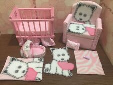 Barbie Baby Nursery Set Furniture Crib, Baby Bottle,Sofa ,Carrier. Doggy