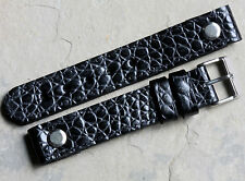 Baby Alligator grain leather AVIATOR 18mm open-ended watch strap made in England