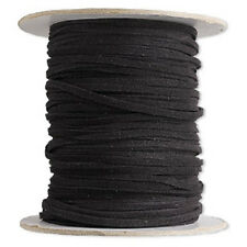 Bracelet Necklace Cord, Faux Leather, Suede Lace, Black, 30 ft
