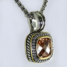 Designer Style 18KGP Champagne Topaz CZ Rope Pendant Necklace Silver Gold