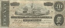 1864 $20 CONFEDERATE CIVIL WAR PAPER MONEY CURRENCY - CAPITOL AT NASHVILLE TENN