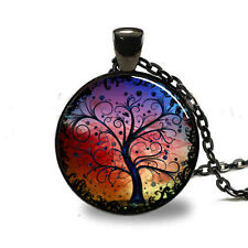 New Trees Charm Glass Dome Cabochon Black Chain Necklace Pendant #2