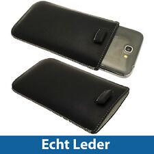 Schwarz Echt Leder Beutel für Samsung Galaxy Note 2 II N7100 Android Tasche