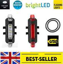 Rechargeable Front+rear 5 led light set-small bright lights red white lamp bike