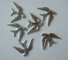 50 x Swallow Charms Bird 24x16mm Antique Silver Tone Pendants Crafts