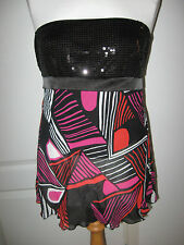 LADIES BAY SIZE 12 STRAPLESS SEQUINNED CHIFFON SUMMER EVENING TOP BLACK/MULTI