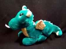 Dakin Fun Farm Teal Blue Green Vintage Plush DRAGON Yellow Wings Chest 1987