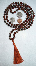 8mm Obsidian Mohagany Carnelian 108 Hand Knotted Kirtan Mala Yoga Bead Necklace