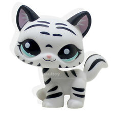 Littlest Pet Shop Tiger Cat Kitty White Striped With Aqua Blue Eyes #1498
