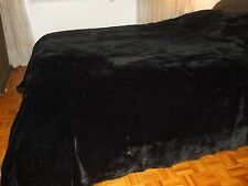 "BRAND NEW BLACK SHEARED BEAVER FUR BLANKET THROW SIZE 100"" X 100"""