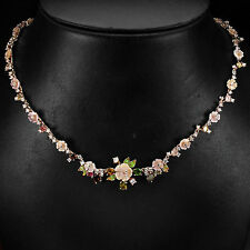 Sterling Silver 925 Rose Gold Plated Mother Of Pearl & Mixed Gem Necklace 20 In