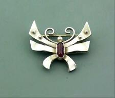 ARTS & CRAFTS SILVER & AMETHYST STYLISED CRAB BROOCH