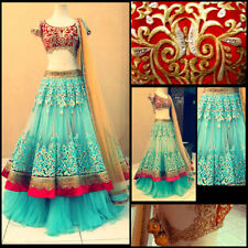 Bollywood Designer Party Wear Blue Color With Red Blouse Lehenga Choli