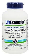 TWO BOTTLES Life Extension Super Omega-3 Plus EPA/DHA With Krill & Astaxanthin