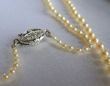 Antique Edwardian Natural Pearl Necklace Platinum Diamond Clasp