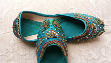 GREEN LADIES INDIAN WEDDING PARTY KHUSSA SHOES   SIZE 5
