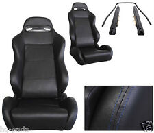 PAIR BLACK PVC LEATHER + BLUE STITCH RECLINABLE RACING SEATS FIT BMW + SLIDERS