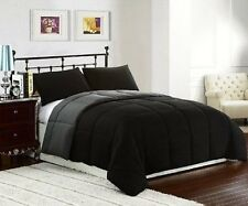 Cozy Bedding Reversible Down Alternative Comforter 3pc Set Queen Full Black Gray