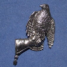 Large Pewter Hawk Gauntlet Falconry Brooch Pin  Quality