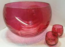 West Virginia Glass  Rose Lustre-Loop Optic Punch Bowl 12 glass Roly Poly Set