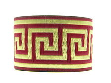 10.9yds  Jacquard Woven Ribbon/Trim Greek Key Burgundy/Gold 2''