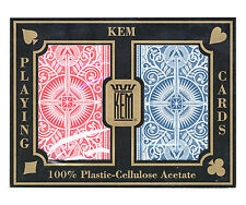 "KEM ""ARROW"" RED & BLUE PLASTIC PLAYING CARDS BRIDGE SIZE REGULAR INDEX *"