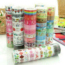10Rolls DIY Colorful Paper Sticky Adhesive Sticker Book Decor Washi Glue Tapes