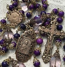 French Rosary St Therese ~ Amethyst Gemstones Antique Bronze Design Handmade