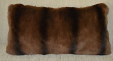 Real Fur Pillow Weasel Dyed  Brown Chinchilla cushion  New made in usa